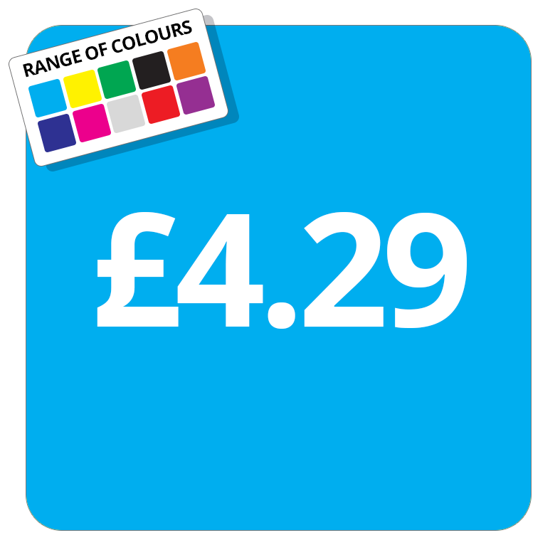 £4.29 Printed Price Sticker - 25mm Square Light Blue