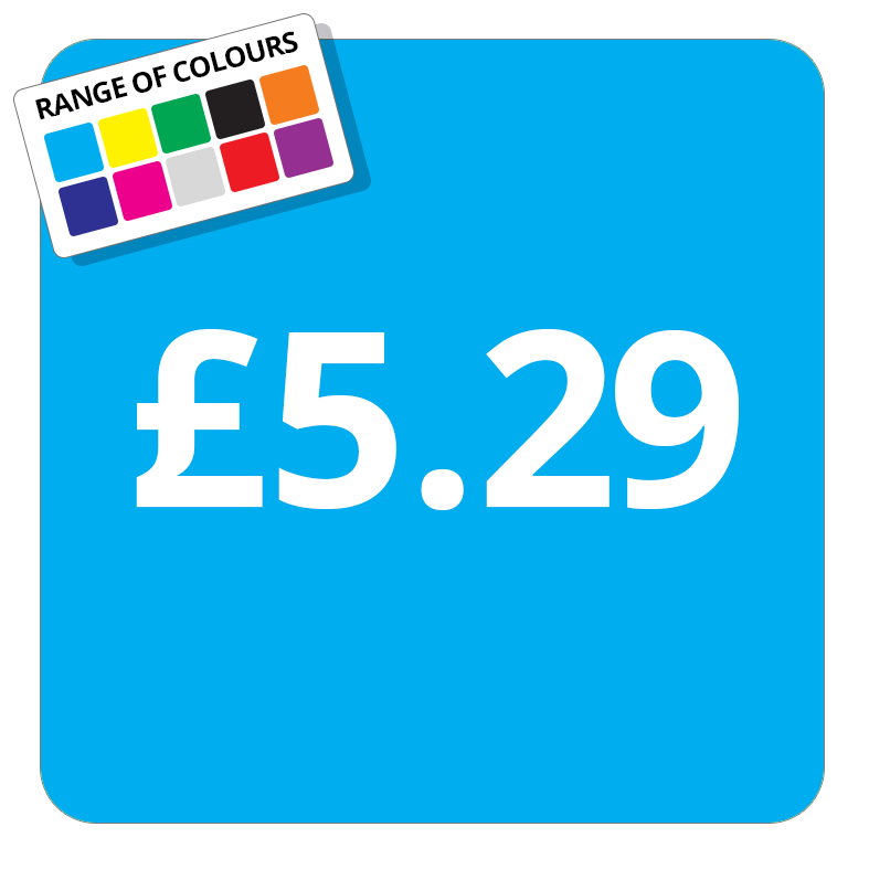 £5.29 Printed Price Sticker - 37mm Square  Light Blue