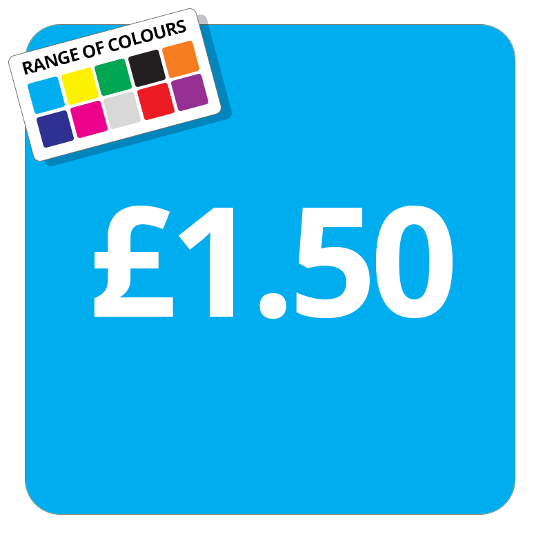 £1.50 Printed Price Sticker - 51mm Square Light Blue