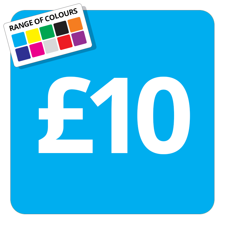 £10 Printed Price Sticker - 37mm Square  Light Blue