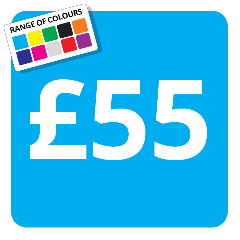 £55 Printed Price Sticker - 25mm Square Light Blue