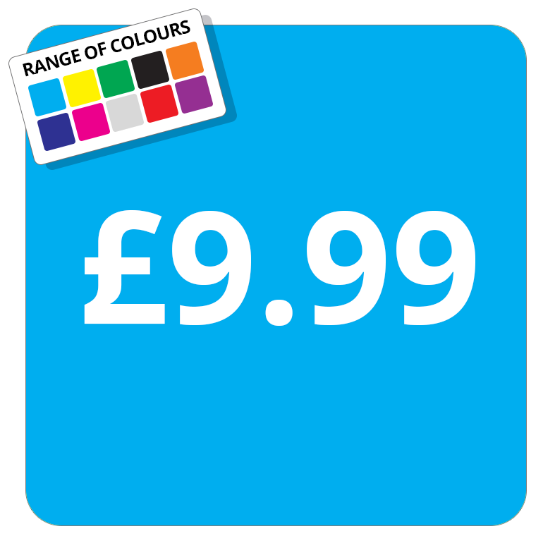 £9.99 Printed Price Sticker - 37mm Square  Light Blue