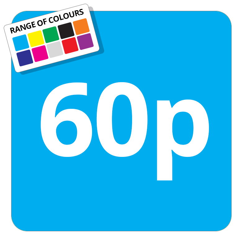60p Printed Price Sticker - 25mm Square Light Blue