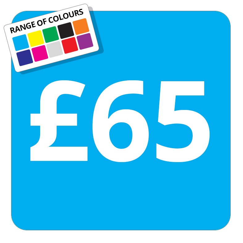 £65 Printed Price Sticker - 25mm Square Light Blue