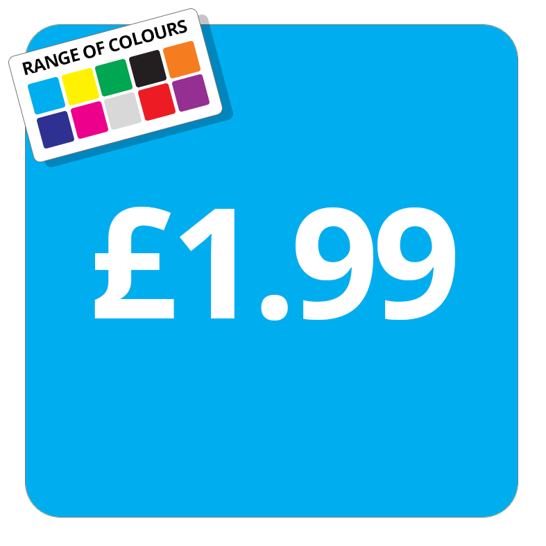 £1.99 Printed Price Sticker - 37mm Square  Light Blue
