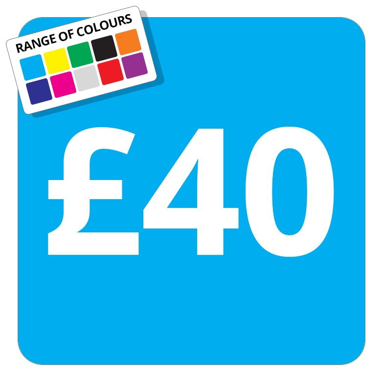 £40 Printed Price Sticker - 25mm Square Light Blue
