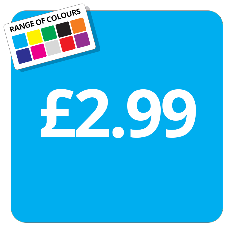 £2.99 Printed Price Sticker - 37mm Square  Light Blue