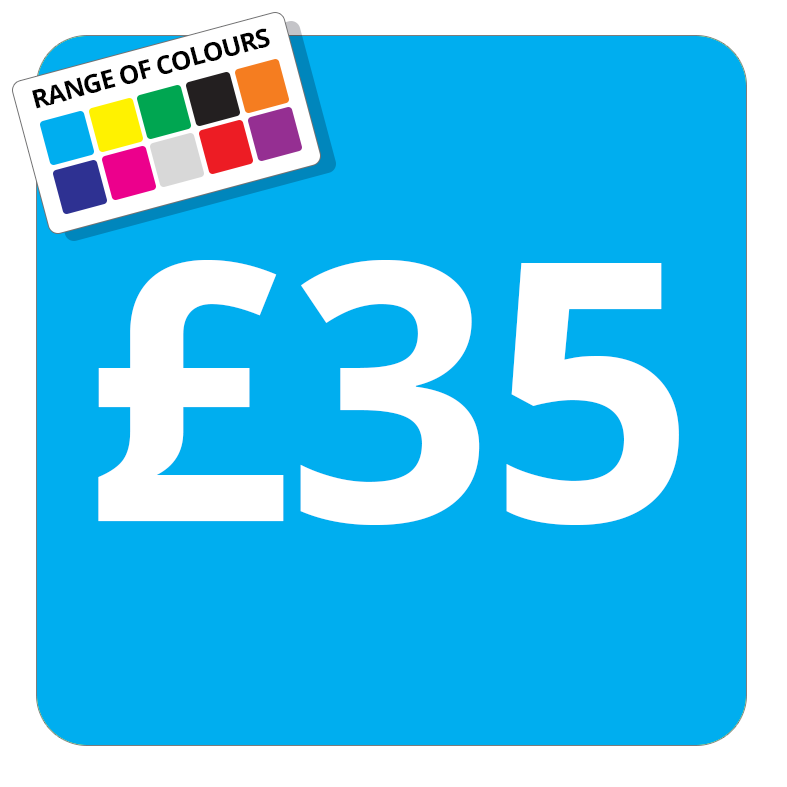 £35 Printed Price Sticker - 37mm Square  Light Blue