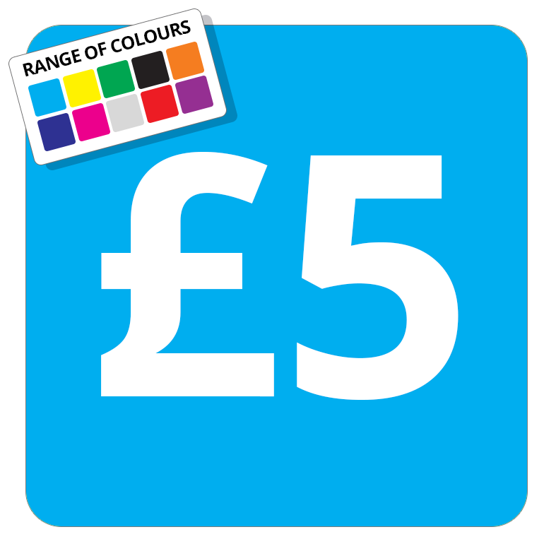 £5 Printed Price Sticker - 37mm Square  Light Blue