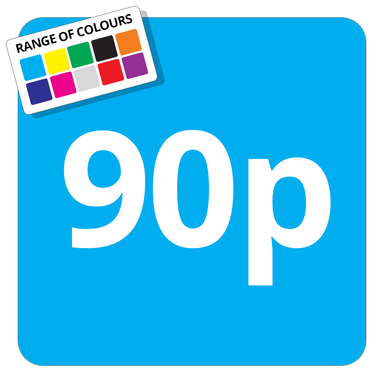90p Printed Price Sticker - 25mm Square Light Blue