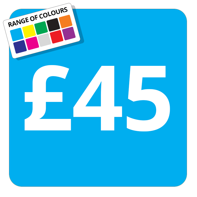 £45 Printed Price Sticker - 37mm Square  Light Blue