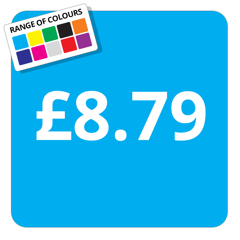 £8.79 Printed Price Sticker - 25mm Square Light Blue