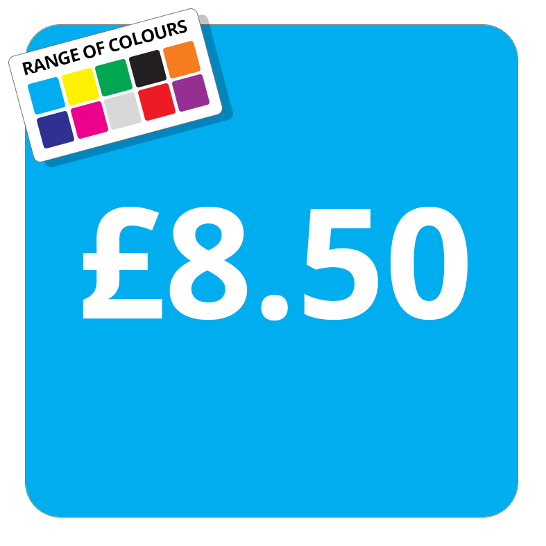£8.50 Printed Price Sticker - 37mm Square  Light Blue