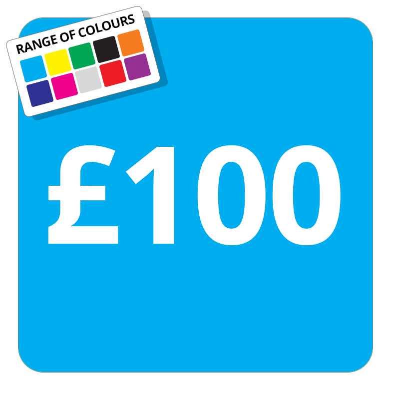 £100 Printed Price Sticker - 25mm Square Light Blue