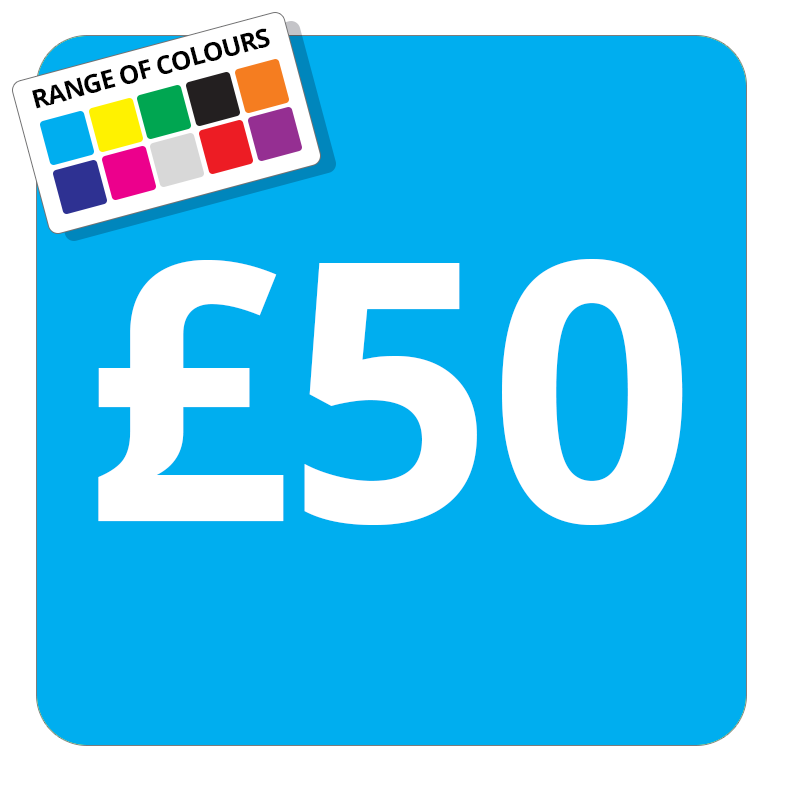£50 Printed Price Sticker - 37mm Square  Light Blue