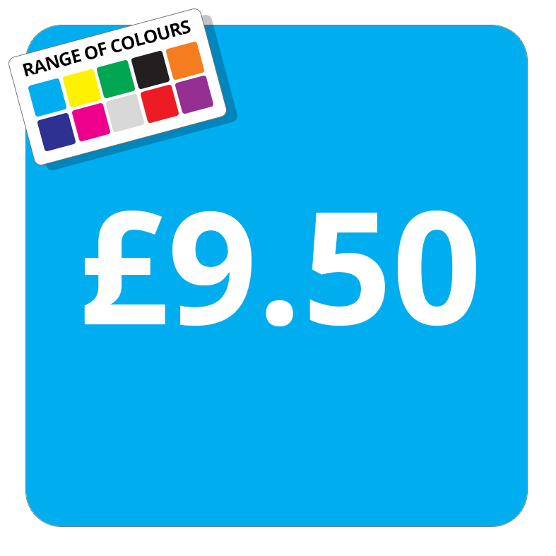 £9.50 Printed Price Sticker - 37mm Square  Light Blue