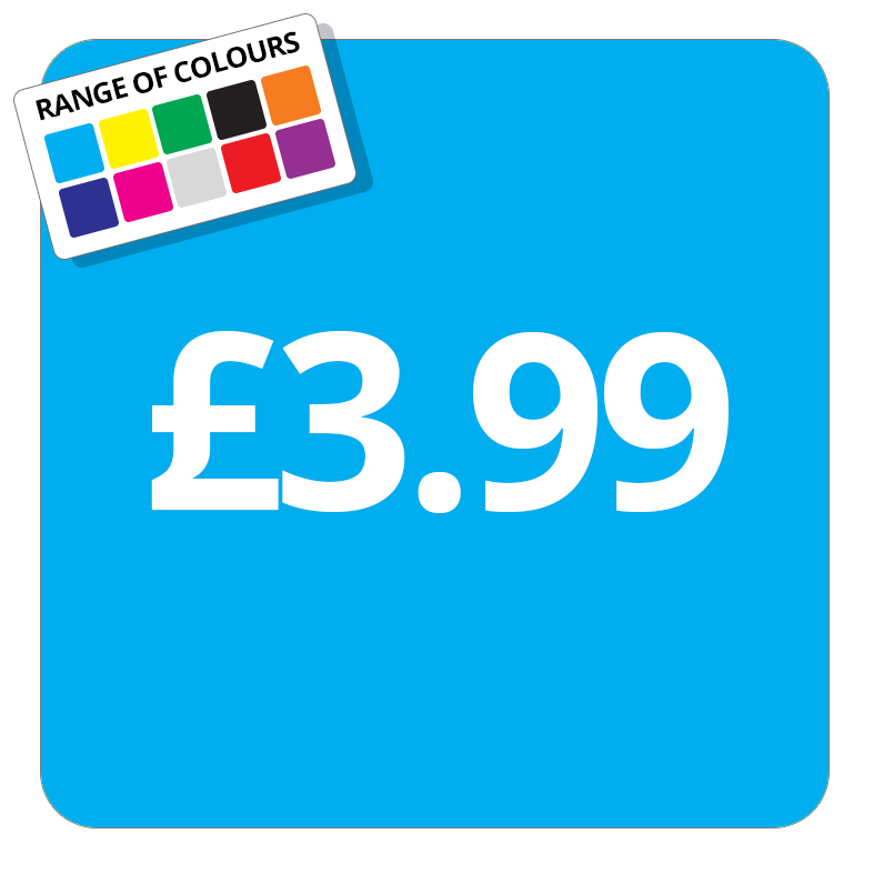 £3.99 Printed Price Sticker - 25mm Square Light Blue