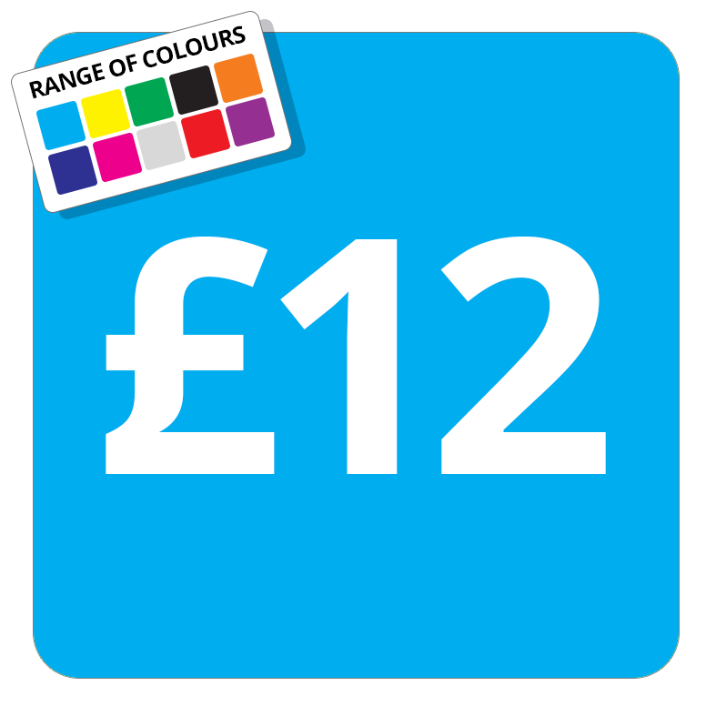 £12 Printed Price Sticker - 37mm Square  Light Blue