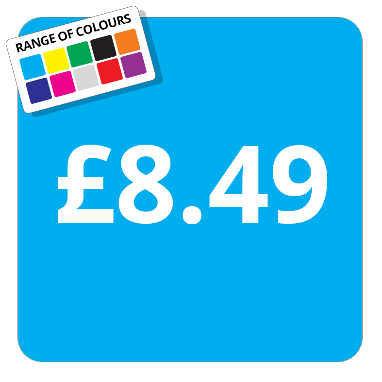 £8.49 Printed Price Sticker - 37mm Square  Light Blue