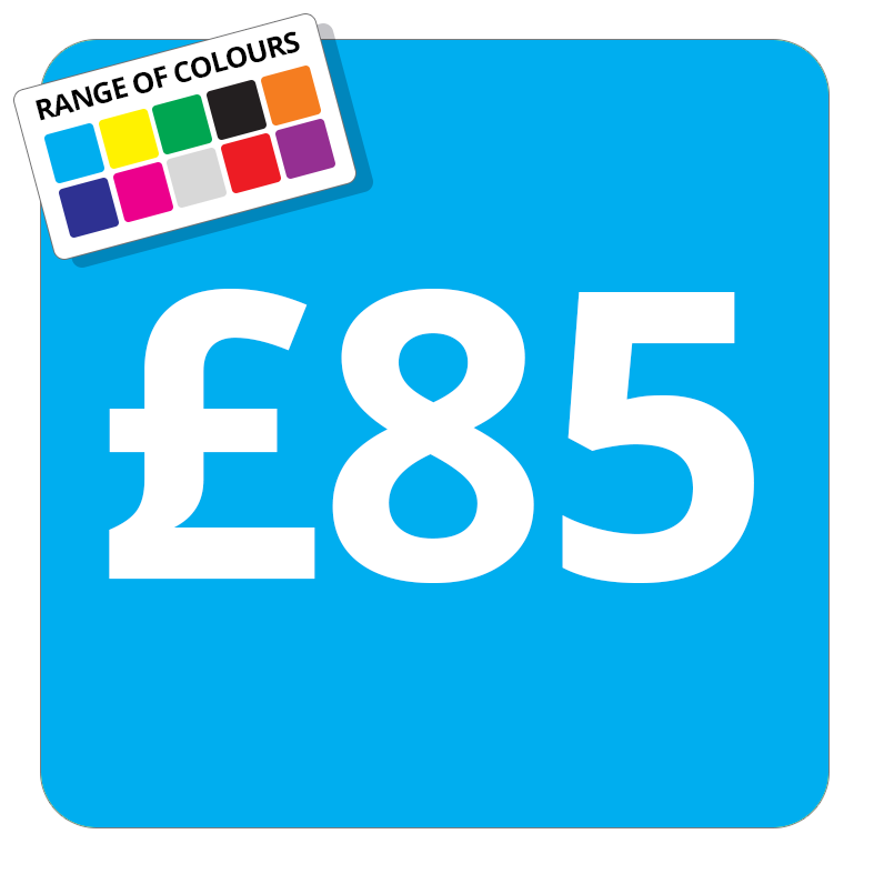 £80 Printed Price Sticker - 51mm Square Light Blue