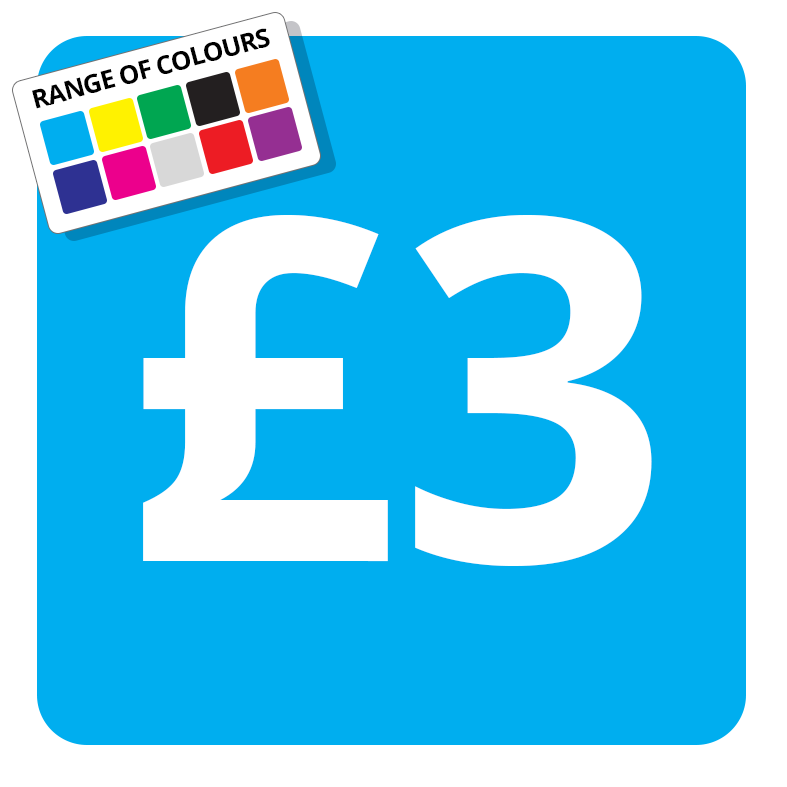 £3 Printed Price Sticker - 25mm Square Light Blue
