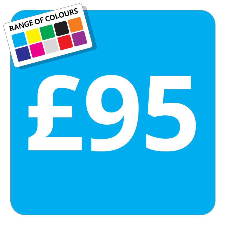 £95 Printed Price Sticker - 25mm Square Light Blue