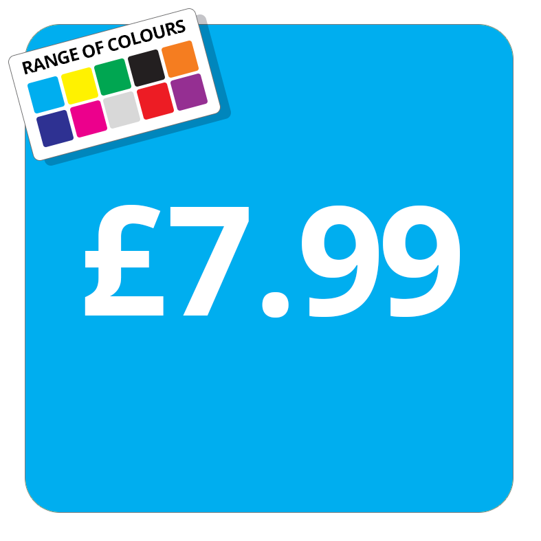 £7.99 Printed Price Sticker - 25mm Square Light Blue