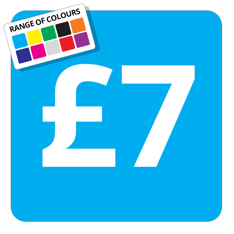 £7 Printed Price Sticker - 37mm Square  Light Blue