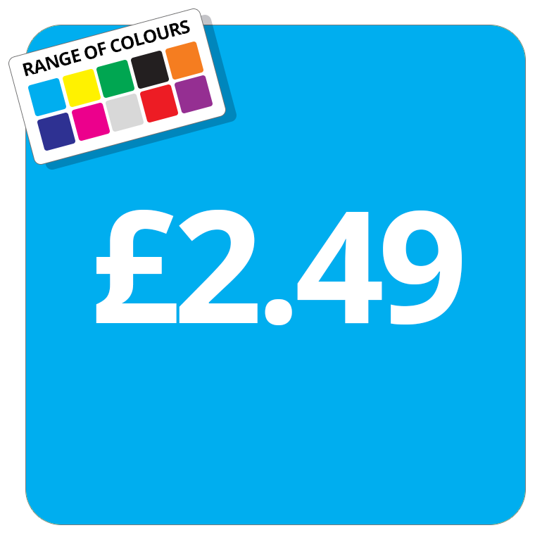 £2.49 Printed Price Sticker - 37mm Square  Light Blue