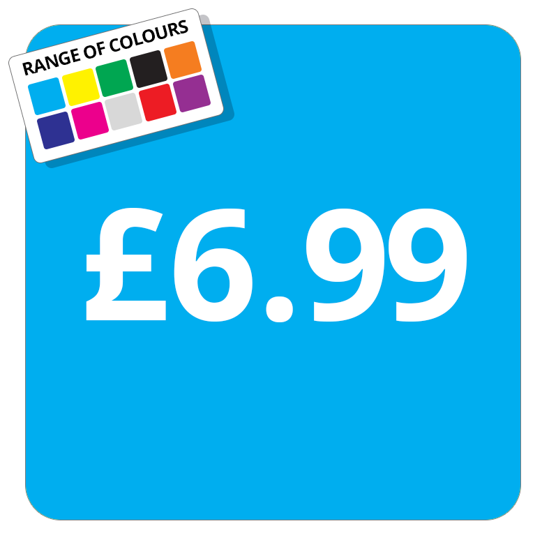 £6.99 Printed Price Sticker - 37mm Square  Light Blue
