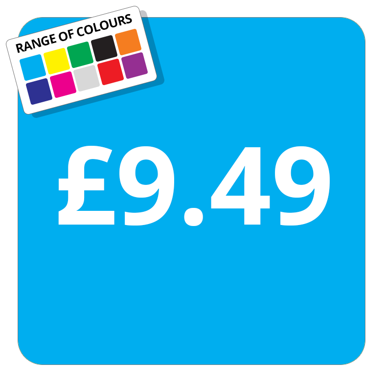 £9.49 Printed Price Sticker - 37mm Square  Light Blue