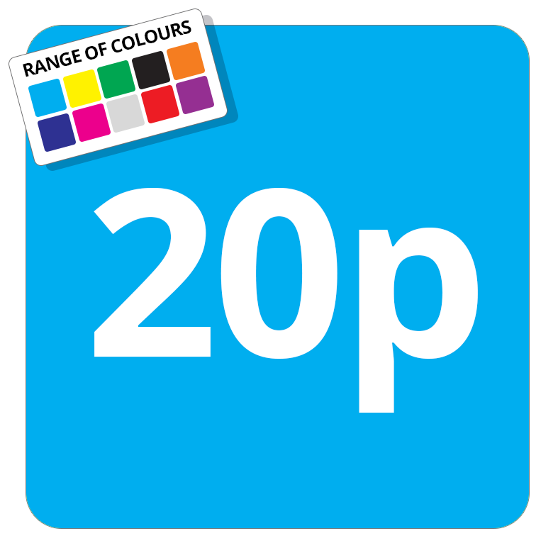 20p Printed Price Sticker - 37mm Square  Light Blue