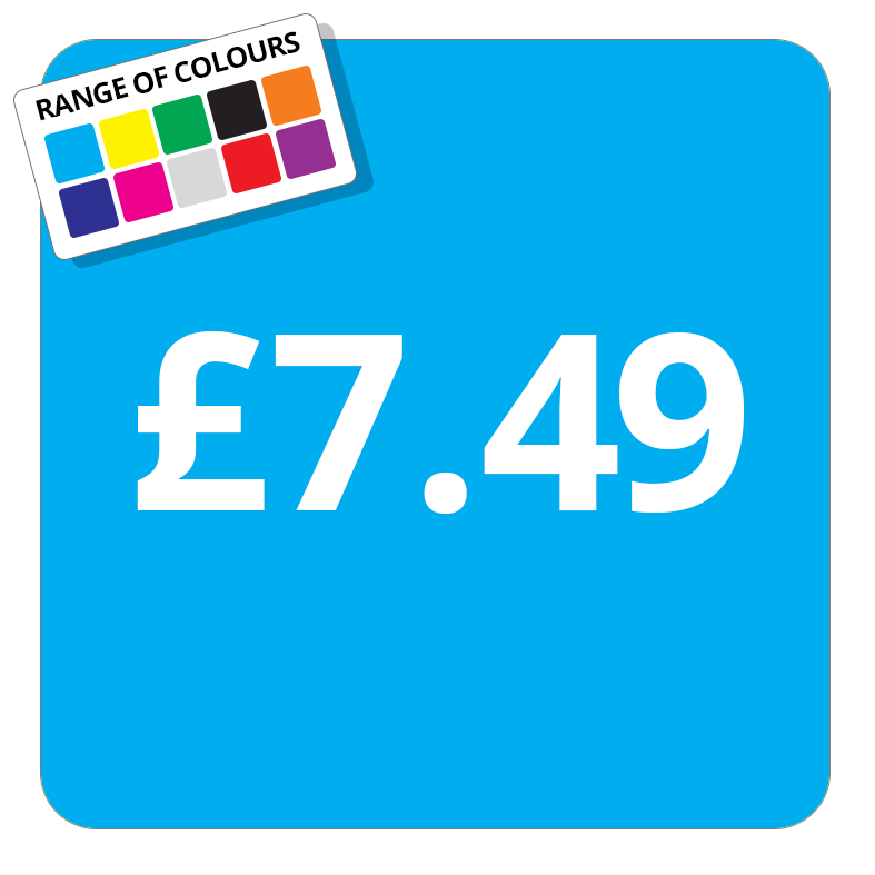 £7.49 Printed Price Sticker - 37mm Square  Light Blue