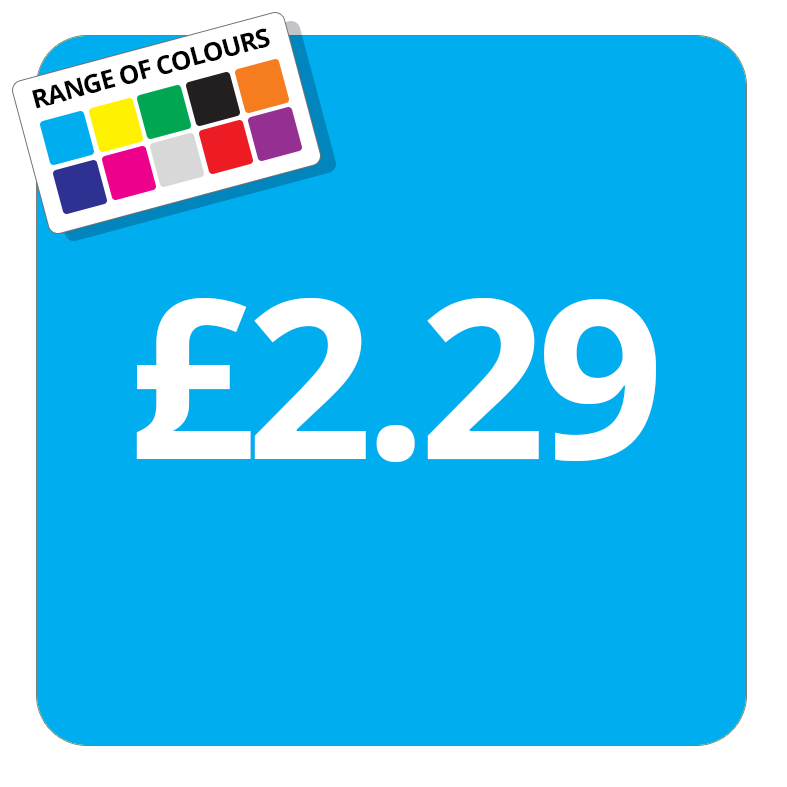 £2.29 Printed Price Sticker - 37mm Square  Light Blue
