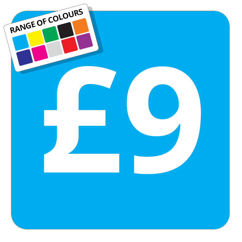 £9 Printed Price Sticker - 25mm Square Light Blue