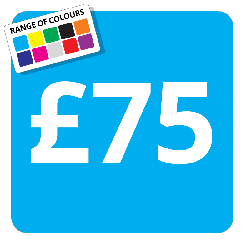 £75 Printed Price Sticker - 51mm Square Light Blue