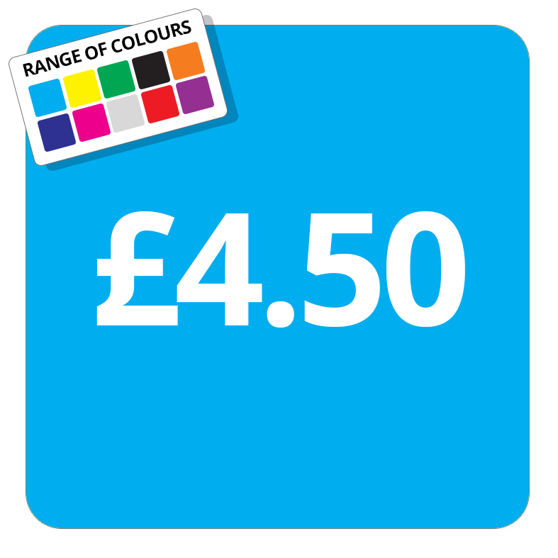 £4.50 Printed Price Sticker - 37mm Square  Light Blue