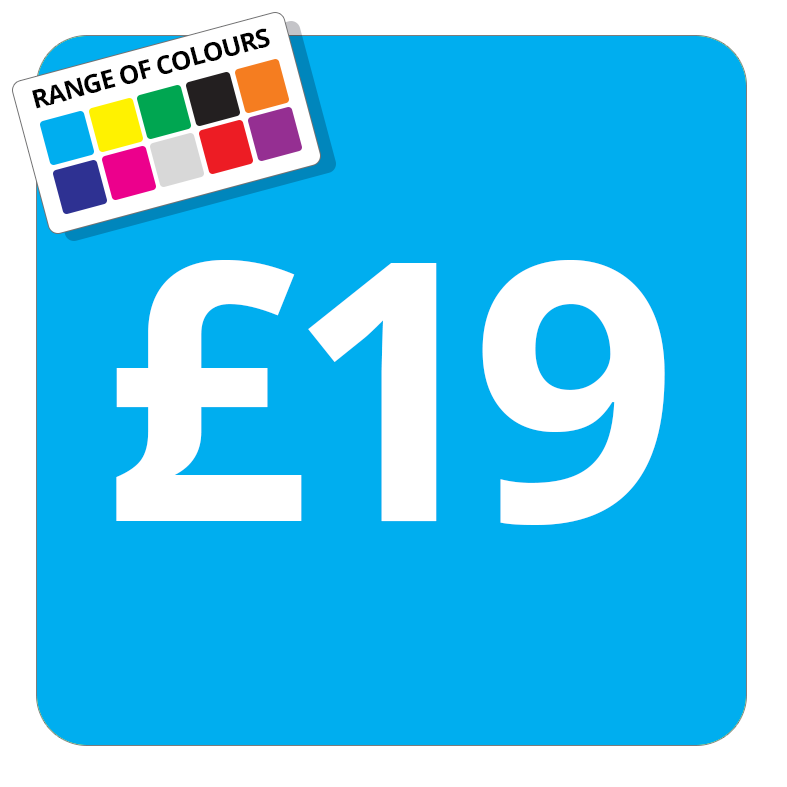 £19 Printed Price Sticker - 37mm Square  Light Blue