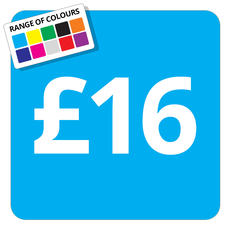 £16 Printed Price Sticker - 37mm Square  Light Blue