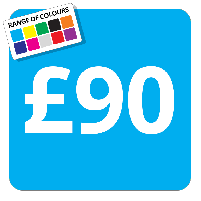 £90 Printed Price Sticker - 25mm Square Light Blue