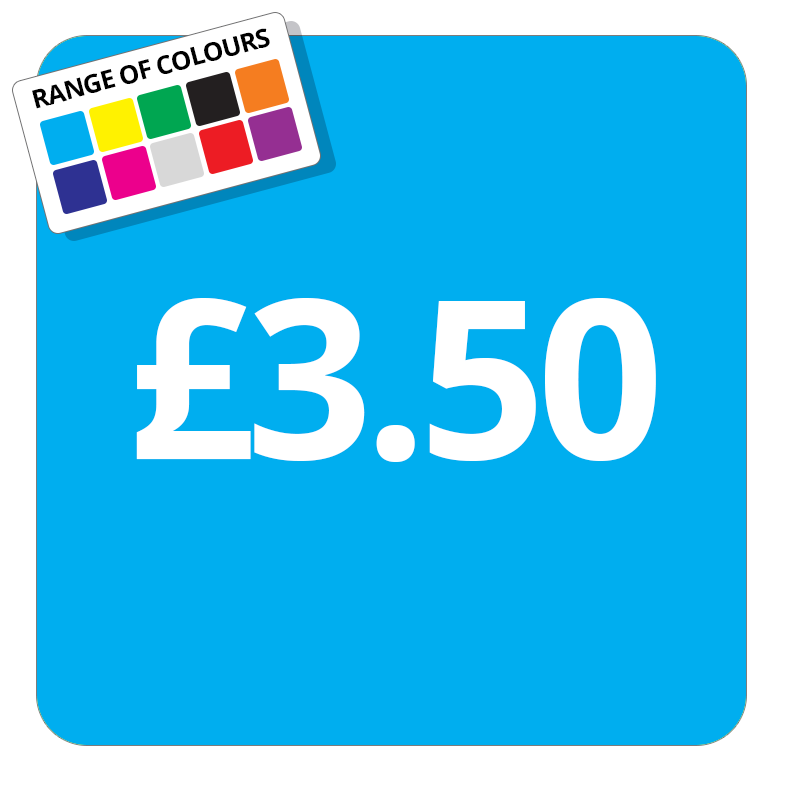 £3.50 Printed Price Sticker - 37mm Square  Light Blue