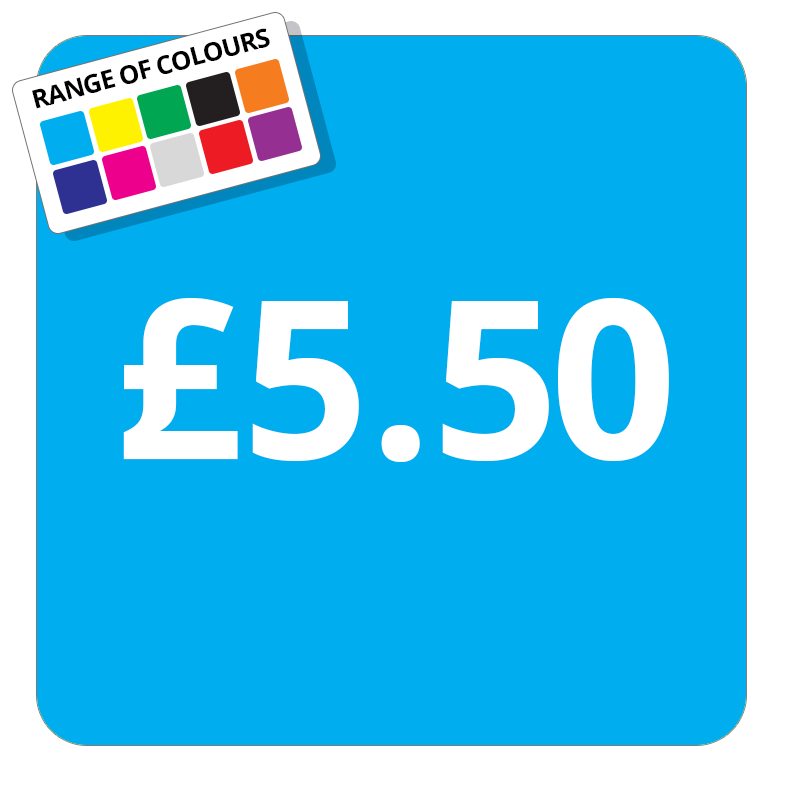 £5.50 Printed Price Sticker - 37mm Square  Light Blue
