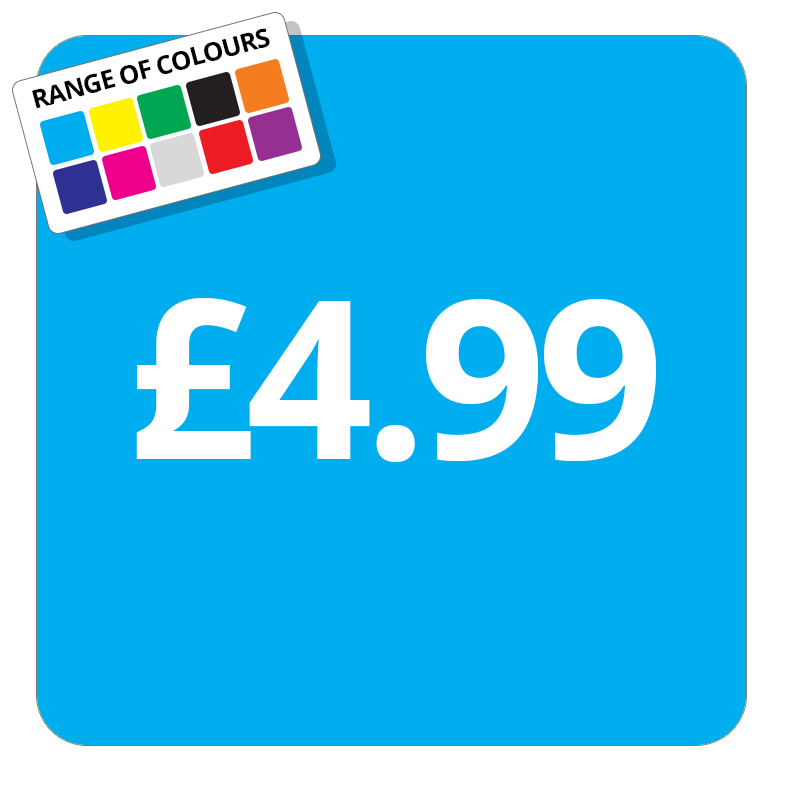 £4.99 Printed Price Sticker - 37mm Square  Light Blue
