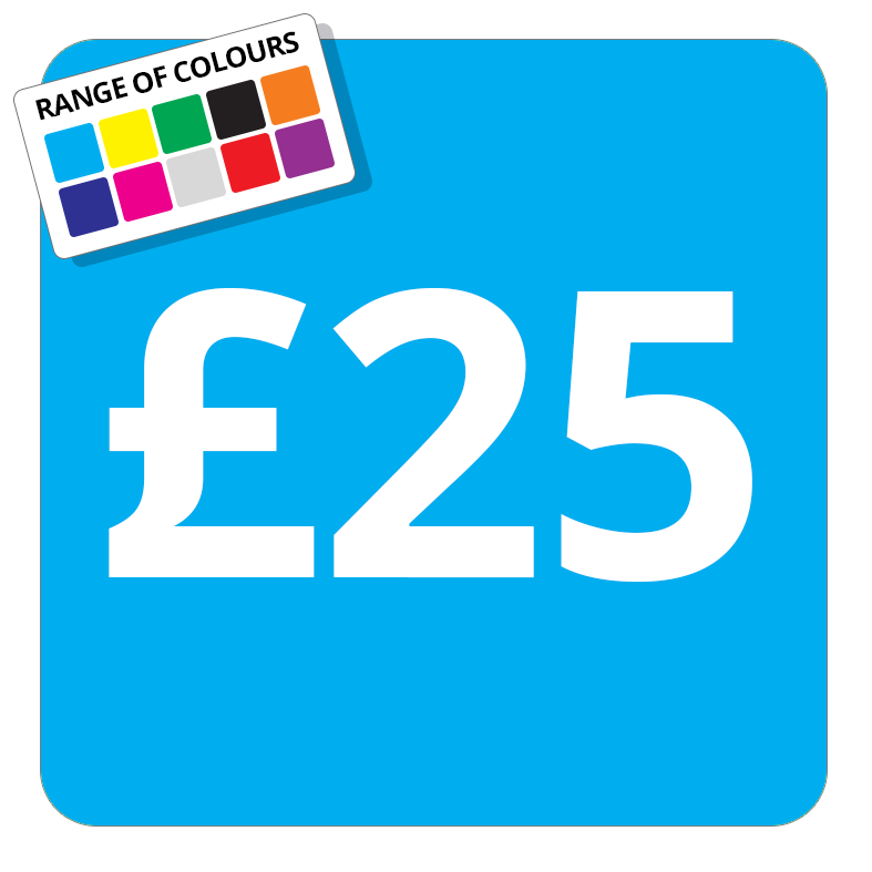 £25 Printed Price Sticker - 51mm Square Light Blue