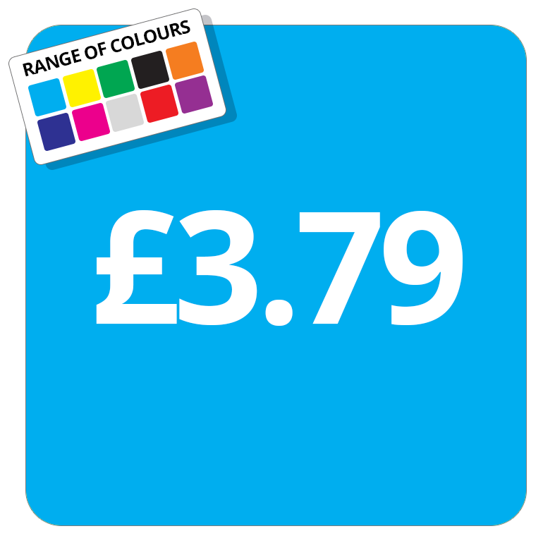 £3.79 Printed Price Sticker - 51mm Square Light Blue