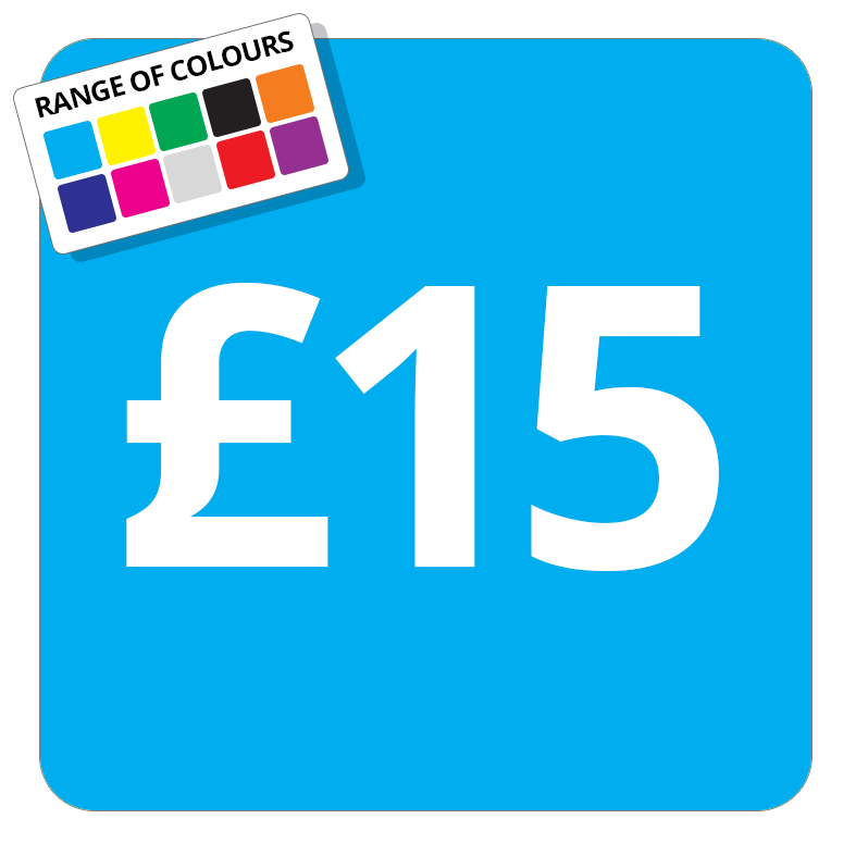£15 Printed Price Sticker - 25mm Square Light Blue
