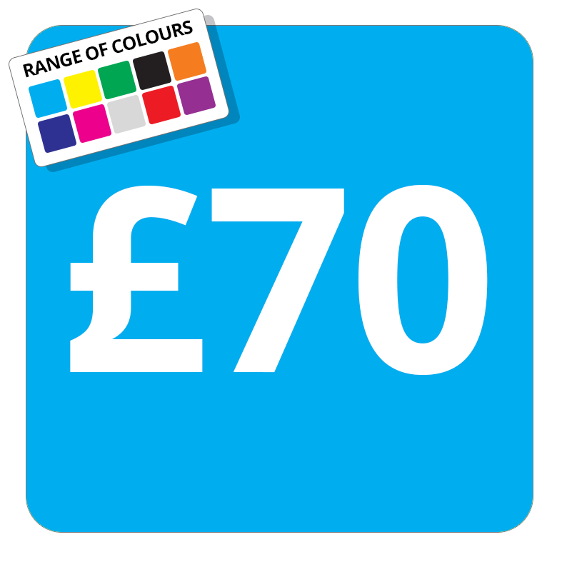 £70 Printed Price Sticker - 51mm Square Light Blue