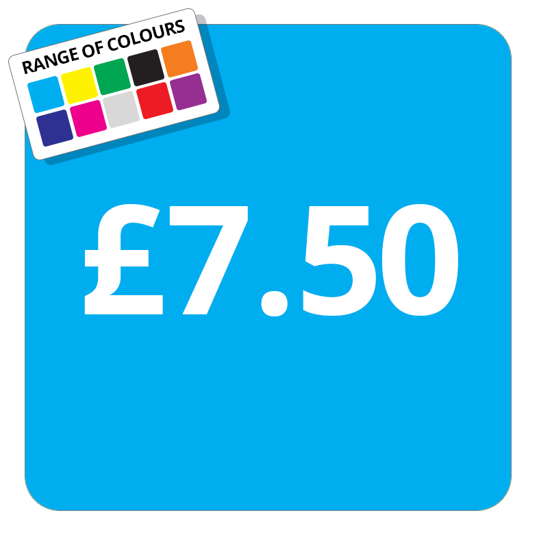 £7.50 Printed Price Sticker - 37mm Square  Light Blue
