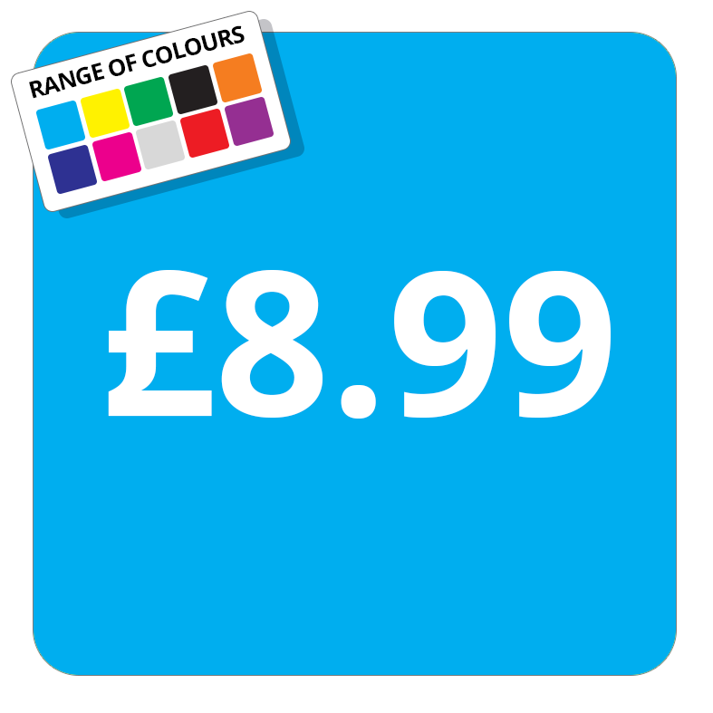 £8.99 Printed Price Sticker - 37mm Square  Light Blue