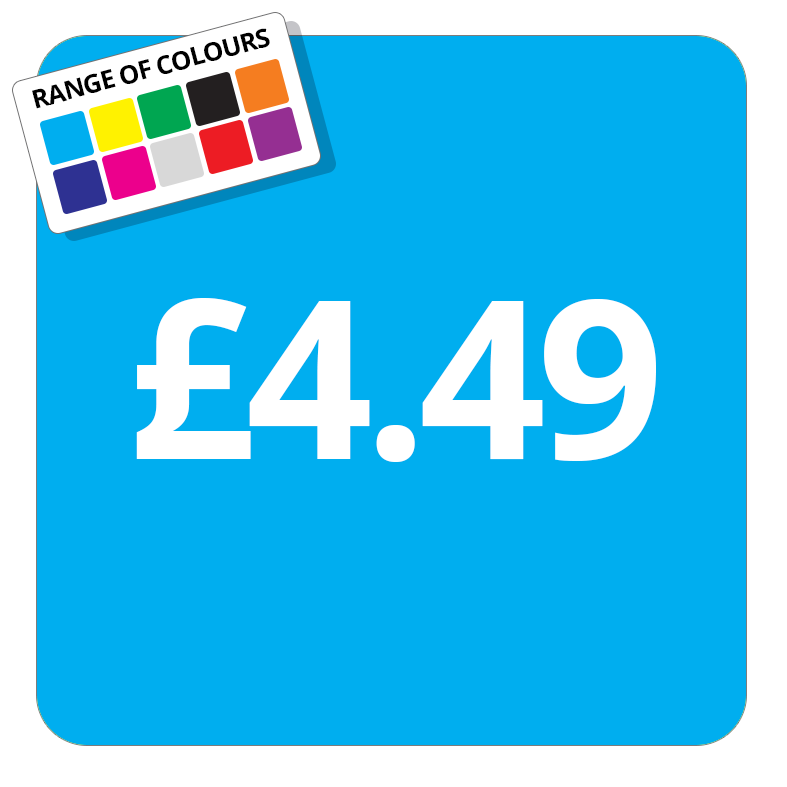 £4.49 Printed Price Sticker - 37mm Square  Light Blue